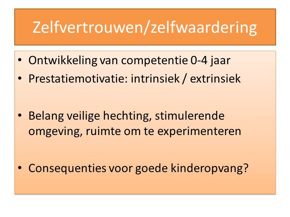 Zelfvertrouwen/zelfwaardering Ontwikkeling van competentie 0-4 jaar Prestatiemotivatie: intrinsiek / extrinsiek Belang veilige hechting, stimulerende