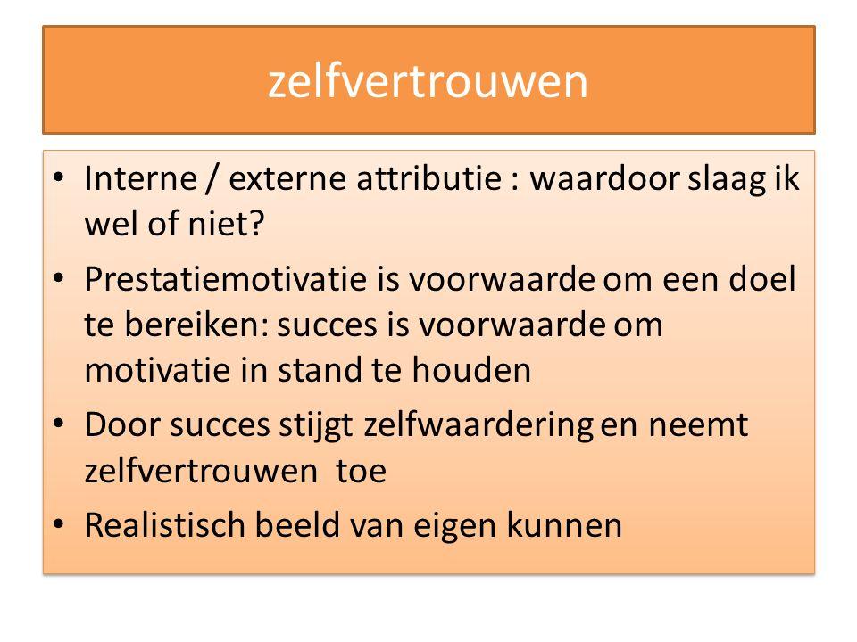 zelfvertrouwen Interne / externe attributie : waardoor slaag ik wel of niet? Prestatiemotivatie is voorwaarde om een doel te bereiken: succes is voorw