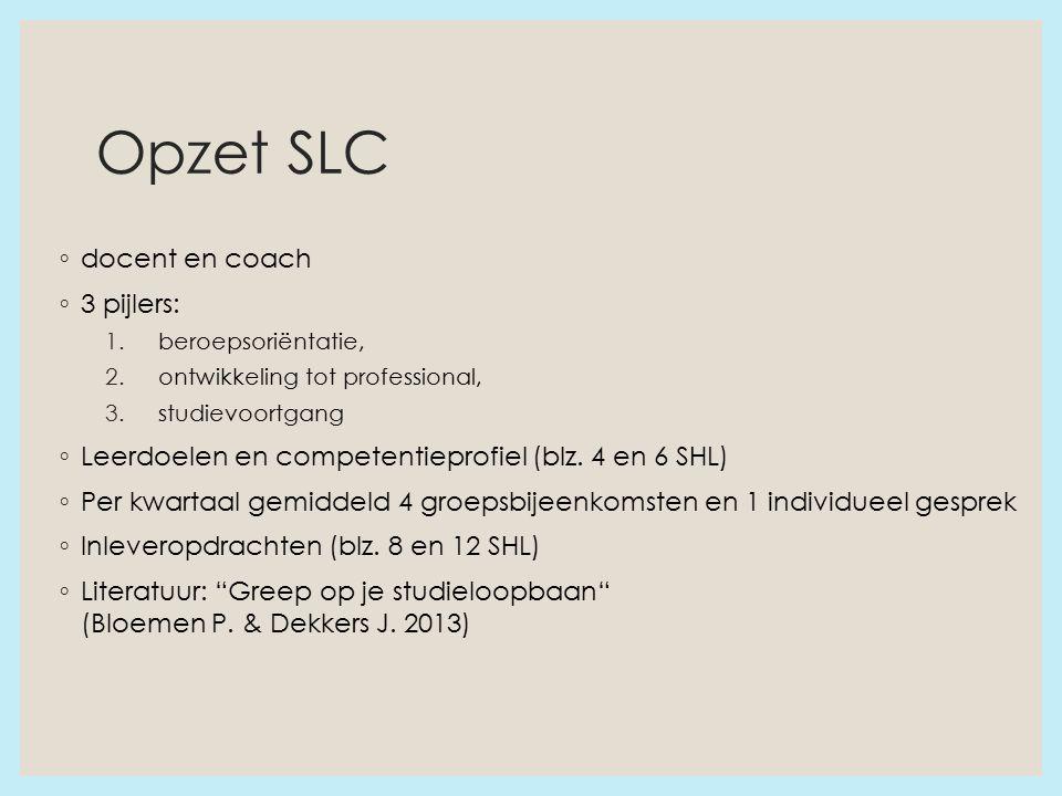 Opzet SLC ◦ docent en coach ◦ 3 pijlers: 1.beroepsoriëntatie, 2.ontwikkeling tot professional, 3.studievoortgang ◦ Leerdoelen en competentieprofiel (blz.