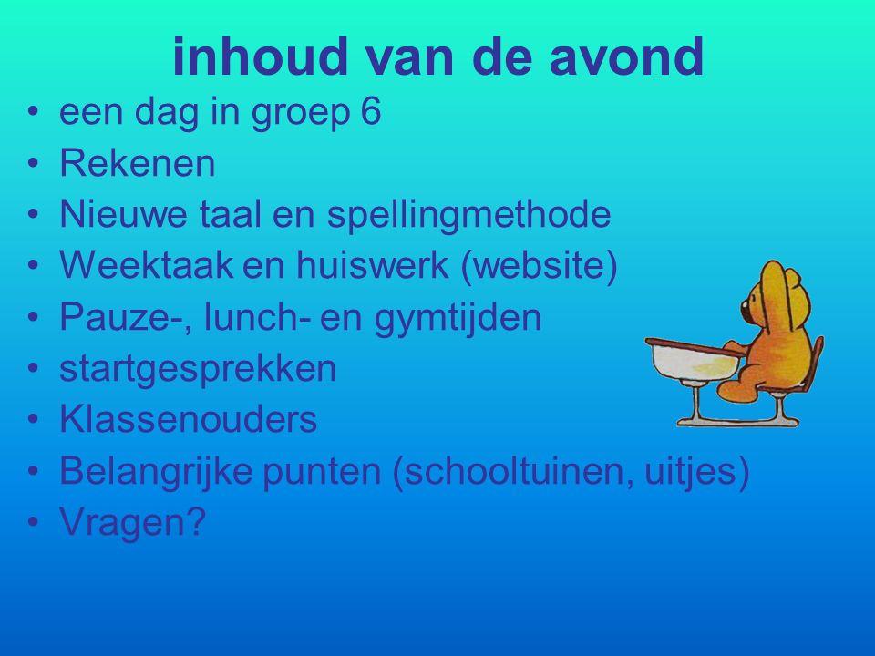inhoud van de avond een dag in groep 6 Rekenen Nieuwe taal en spellingmethode Weektaak en huiswerk (website) Pauze-, lunch- en gymtijden startgesprekk