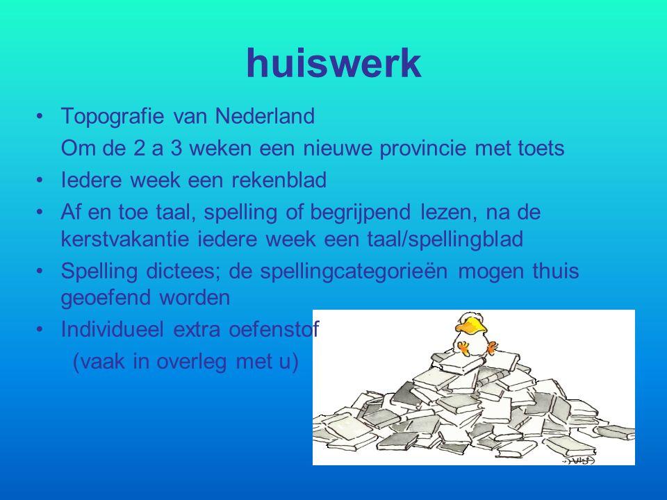 huiswerk Topografie van Nederland Om de 2 a 3 weken een nieuwe provincie met toets Iedere week een rekenblad Af en toe taal, spelling of begrijpend le