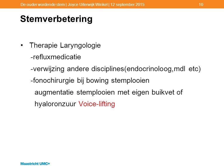 Stemverbetering Therapie Laryngologie -refluxmedicatie -verwijzing andere disciplines(endocrinoloog,mdl etc) -fonochirurgie bij bowing stemplooien aug