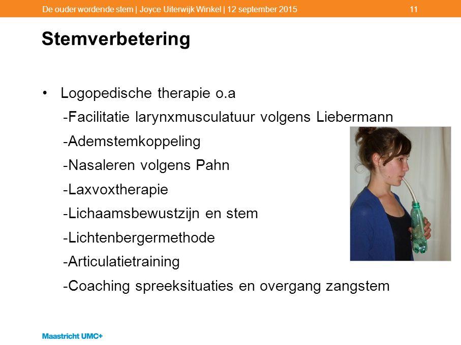 Stemverbetering Logopedische therapie o.a -Facilitatie larynxmusculatuur volgens Liebermann -Ademstemkoppeling -Nasaleren volgens Pahn -Laxvoxtherapie