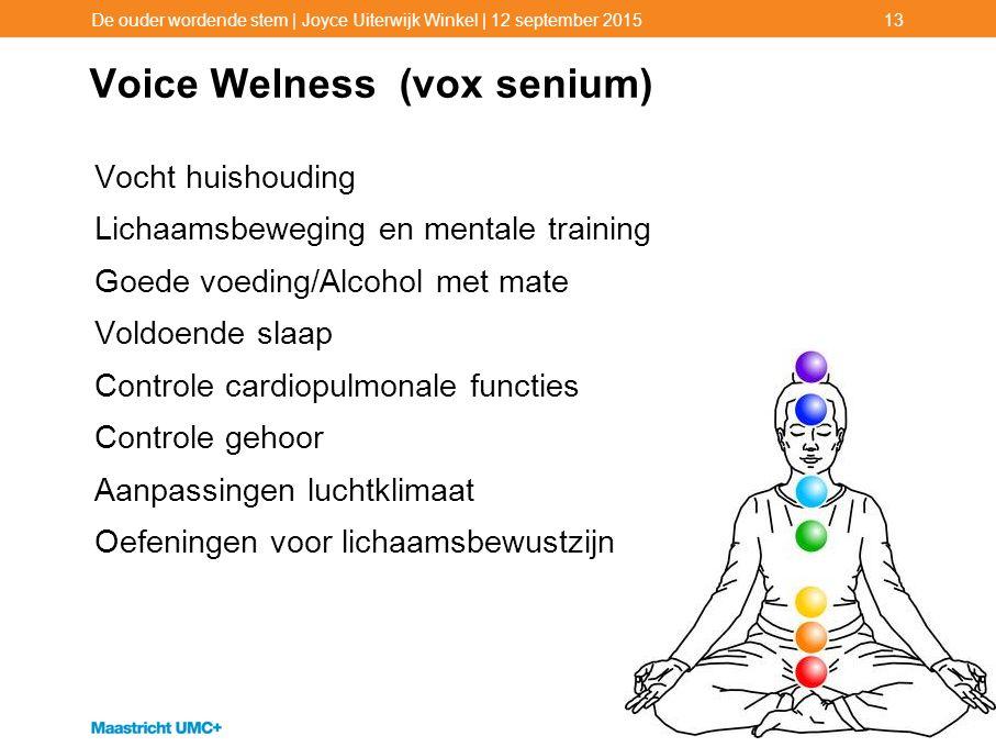 Voice Welness (vox senium) Vocht huishouding Lichaamsbeweging en mentale training Goede voeding/Alcohol met mate Voldoende slaap Controle cardiopulmon