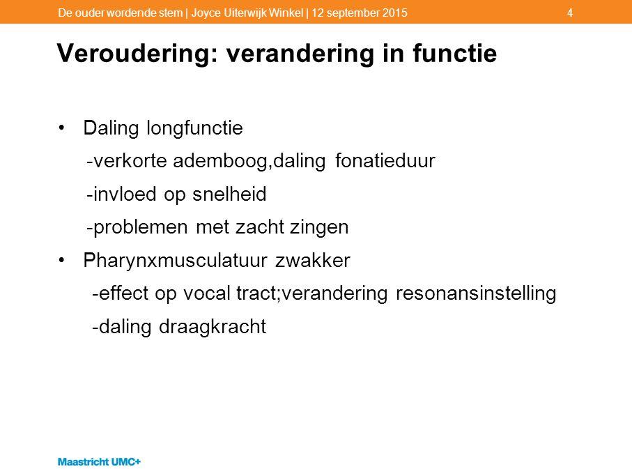 Veroudering: verandering in functie Daling longfunctie -verkorte ademboog,daling fonatieduur -invloed op snelheid -problemen met zacht zingen Pharynxm