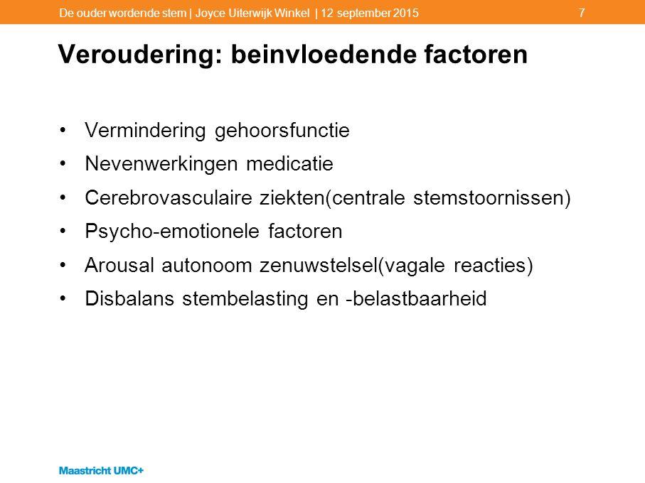 Veroudering: beinvloedende factoren Vermindering gehoorsfunctie Nevenwerkingen medicatie Cerebrovasculaire ziekten(centrale stemstoornissen) Psycho-em