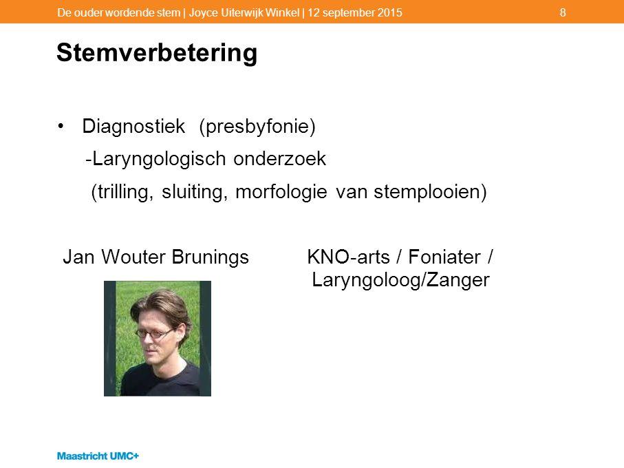 Stemverbetering Diagnostiek (presbyfonie) -Laryngologisch onderzoek (trilling, sluiting, morfologie van stemplooien) Jan Wouter Brunings KNO-arts / Fo