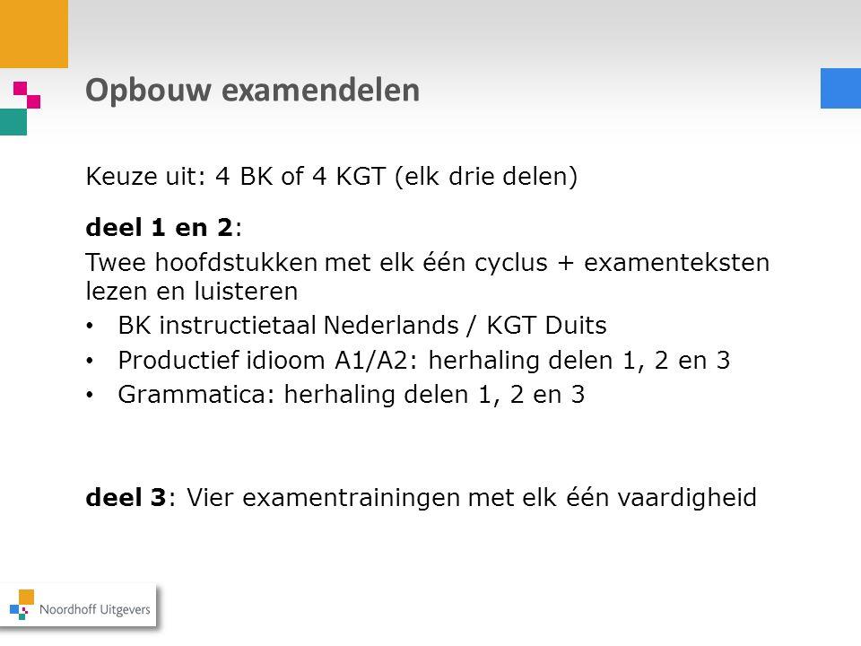 Opbouw examendelen Keuze uit: 4 BK of 4 KGT (elk drie delen) deel 1 en 2: Twee hoofdstukken met elk één cyclus + examenteksten lezen en luisteren BK i