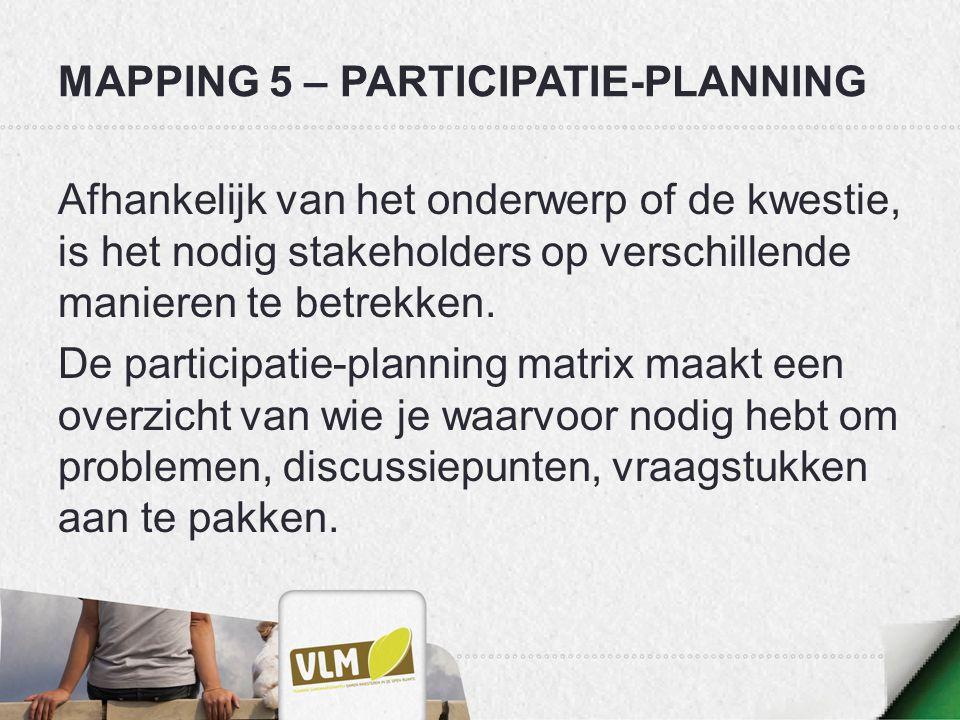 MAPPING 5 – PARTICIPATIE-PLANNING Afhankelijk van het onderwerp of de kwestie, is het nodig stakeholders op verschillende manieren te betrekken. De pa