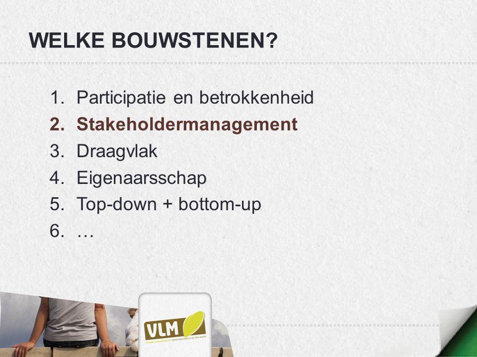 WELKE BOUWSTENEN? 1.Participatie en betrokkenheid 2.Stakeholdermanagement 3.Draagvlak 4.Eigenaarsschap 5.Top-down + bottom-up 6.…