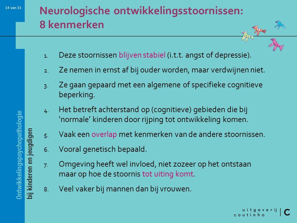 14 van 31 Neurologische ontwikkelingsstoornissen: 8 kenmerken 1.
