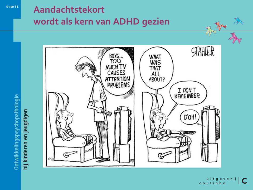 10 van 31 ADHD-symptomen zijn aan leeftijd gerelateerd Vanaf 12 jaar afname van hyperactiviteit (wordt hyperactiviteit in het hoofd: chaos).