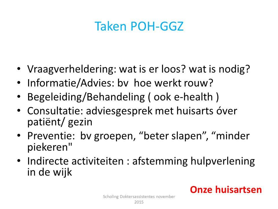 Taken POH-GGZ Vraagverheldering: wat is er loos? wat is nodig? Informatie/Advies: bv hoe werkt rouw? Begeleiding/Behandeling ( ook e-health ) Consulta