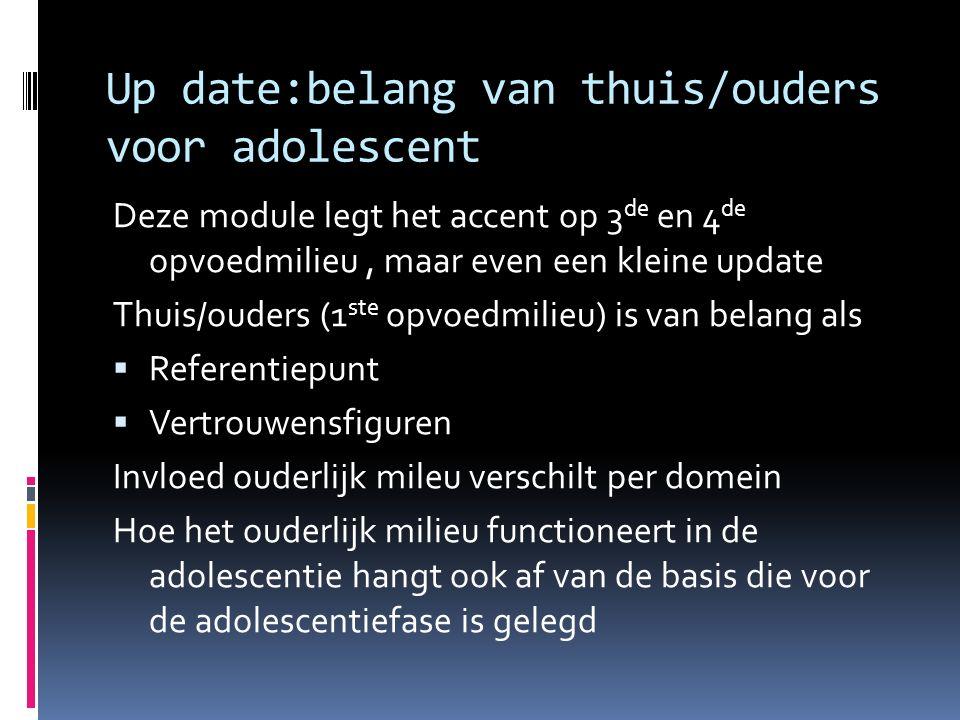 Up date:belang van thuis/ouders voor adolescent Deze module legt het accent op 3 de en 4 de opvoedmilieu, maar even een kleine update Thuis/ouders (1