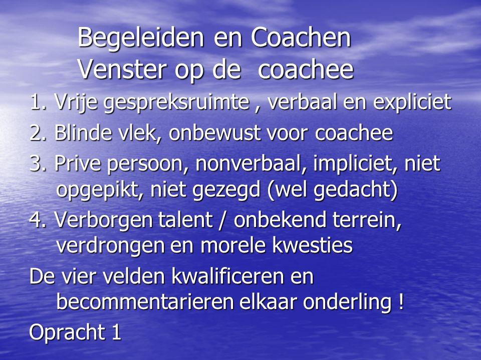 Begeleiden en Coachen Venster op de coachee 1.Vrije gespreksruimte, verbaal en expliciet 2.