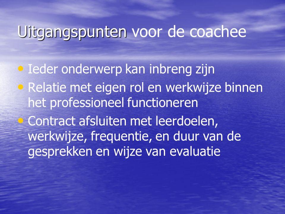 Uitgangspunten Uitgangspunten voor de coachee Ieder onderwerp kan inbreng zijn Relatie met eigen rol en werkwijze binnen het professioneel functioneren Contract afsluiten met leerdoelen, werkwijze, frequentie, en duur van de gesprekken en wijze van evaluatie