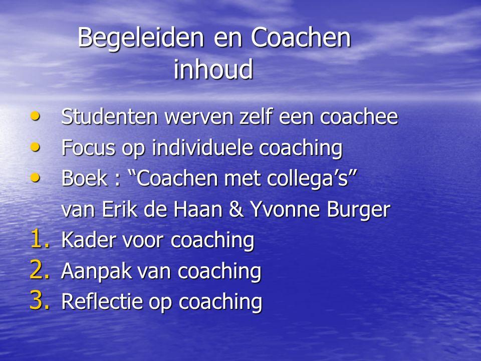 Aangaan van de coaching relatie Verschillende behoeften Coachee heeft een zekere mate van openheid over de behoefte aan hulp, de soort hulp, en daarbij de soort aanpak Coach wil (nog) een coachee, wil de coachee hulp bieden en wil bevestigd worden in die behulpzaamheid