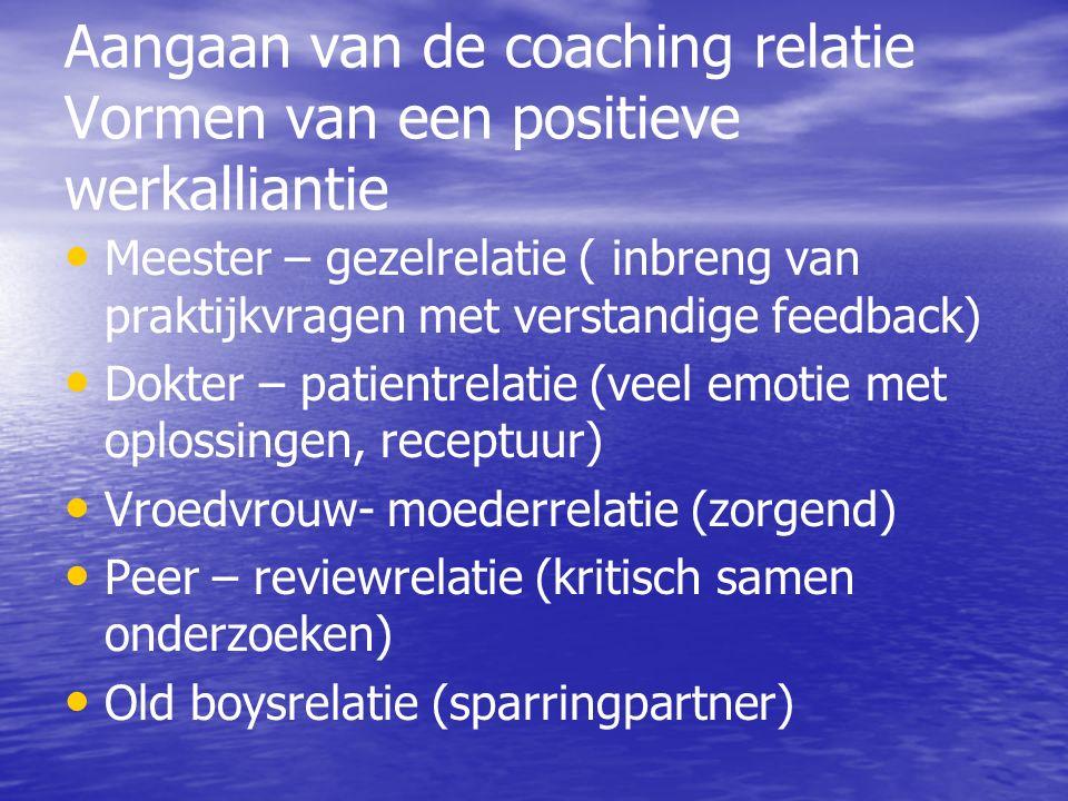 Aangaan van de coaching relatie Vormen van een positieve werkalliantie Meester – gezelrelatie ( inbreng van praktijkvragen met verstandige feedback) Dokter – patientrelatie (veel emotie met oplossingen, receptuur) Vroedvrouw- moederrelatie (zorgend) Peer – reviewrelatie (kritisch samen onderzoeken) Old boysrelatie (sparringpartner)