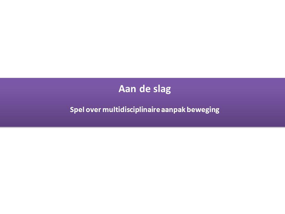 Gezondheid inwoners Kennemerland Aan de slag Spel over multidisciplinaire aanpak beweging Aan de slag Spel over multidisciplinaire aanpak beweging
