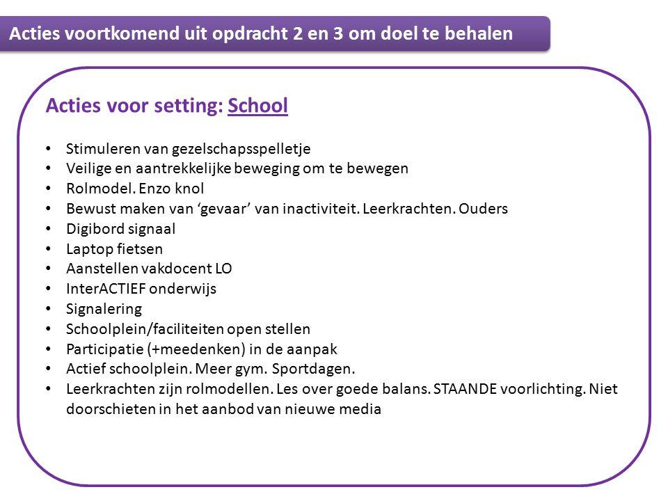 Informatie Acties voor setting: School Stimuleren van gezelschapsspelletje Veilige en aantrekkelijke beweging om te bewegen Rolmodel.