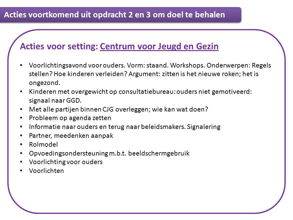 Informatie Acties voor setting: Centrum voor Jeugd en Gezin Voorlichtingsavond voor ouders.
