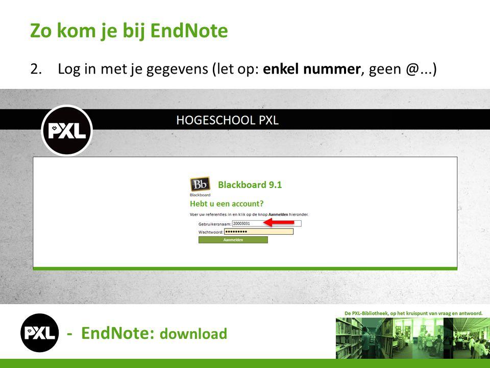3.Als je ingelogd bent, kies je voor de cursus PXL-Laptop Zo kom je bij EndNote - EndNote: download