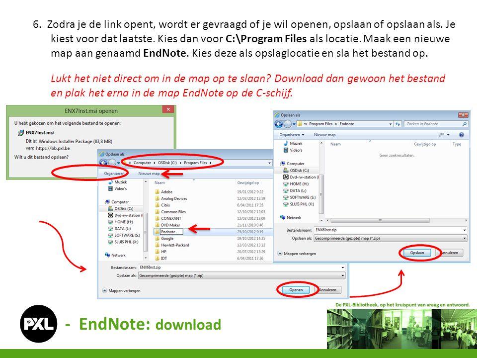 7.Er staat nu een zip-bestand in de map EndNote.