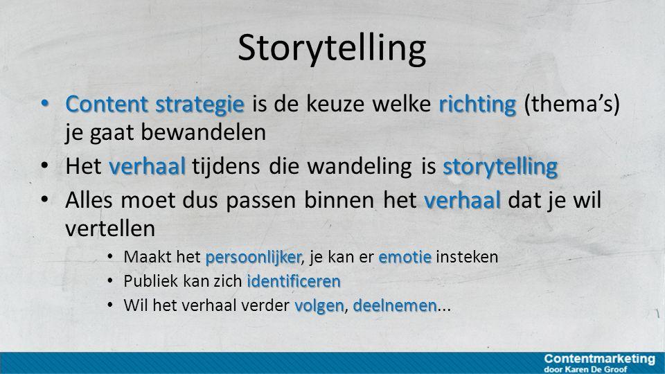 Storytelling Content strategie richting Content strategie is de keuze welke richting (thema's) je gaat bewandelen verhaalstorytelling Het verhaal tijd