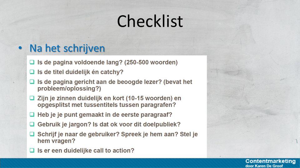 Checklist Na het schrijven Na het schrijven