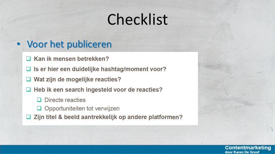 Checklist Voor het publiceren Voor het publiceren