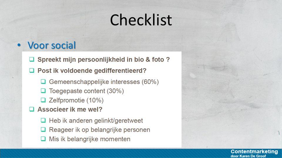 Checklist Voor social Voor social