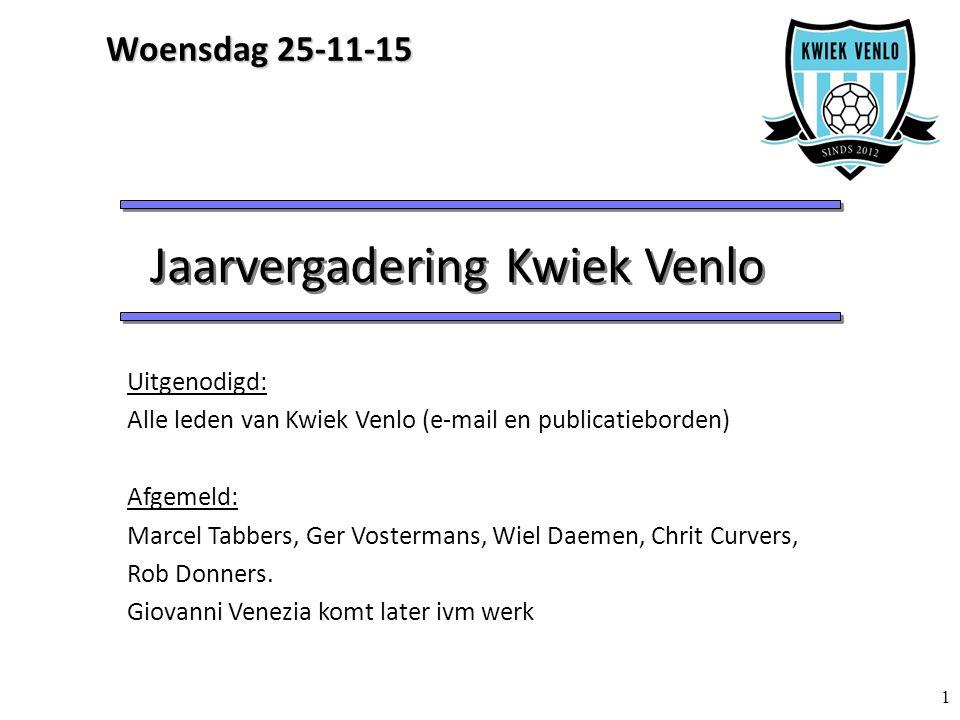 1 Jaarvergadering Kwiek Venlo Uitgenodigd: Alle leden van Kwiek Venlo (e-mail en publicatieborden) Afgemeld: Marcel Tabbers, Ger Vostermans, Wiel Daemen, Chrit Curvers, Rob Donners.