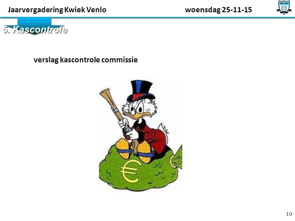 10 5. Kascontrole verslag kascontrole commissie Jaarvergadering Kwiek Venlowoensdag 25-11-15