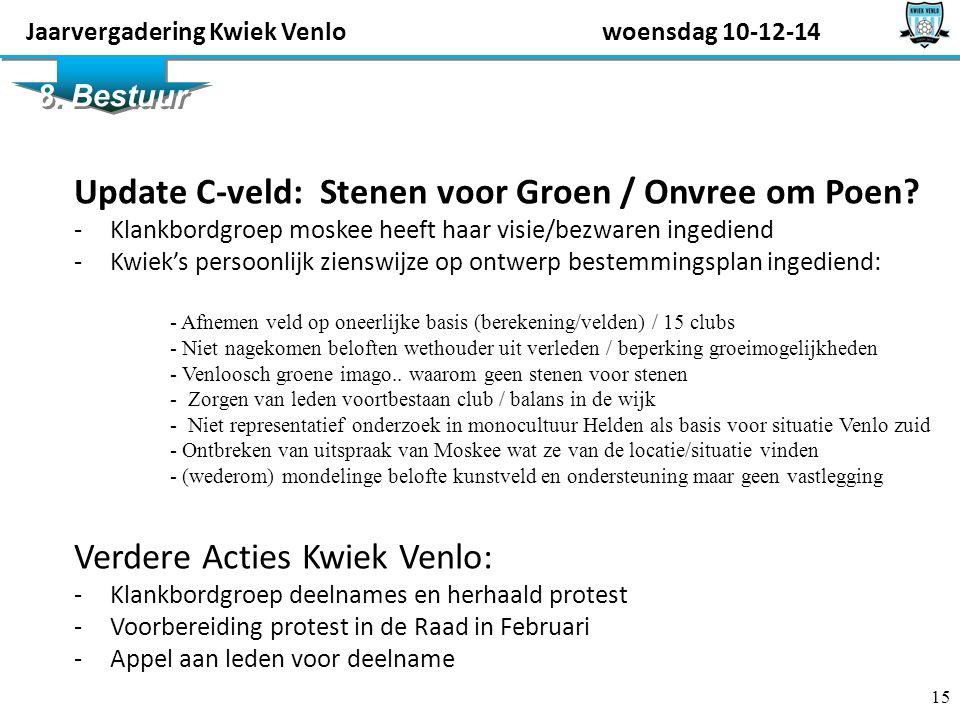 15 8. Bestuur Update C-veld: Stenen voor Groen / Onvree om Poen.