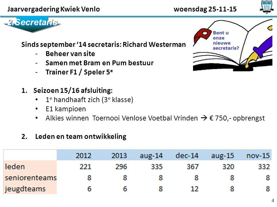 4 2.Secretaris Sinds september '14 secretaris: Richard Westerman -Beheer van site -Samen met Bram en Pum bestuur -Trainer F1 / Speler 5 e 1.
