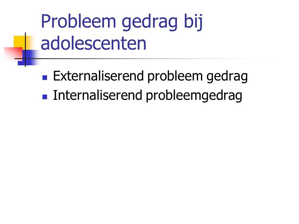 Probleem gedrag bij adolescenten Externaliserend probleem gedrag Internaliserend probleemgedrag