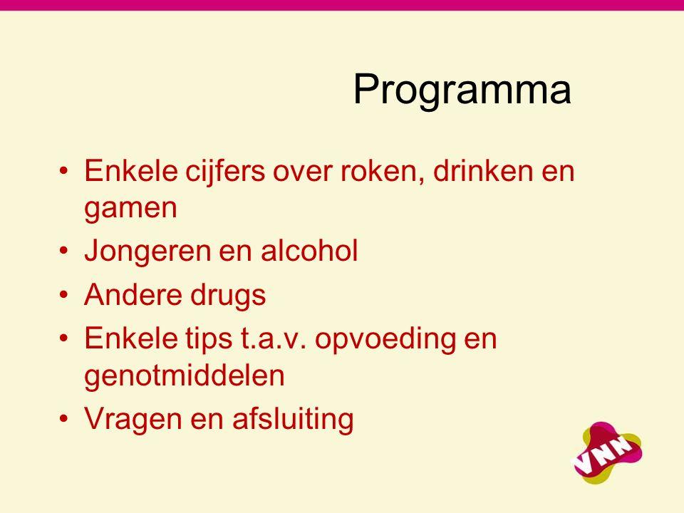 Programma Enkele cijfers over roken, drinken en gamen Jongeren en alcohol Andere drugs Enkele tips t.a.v.