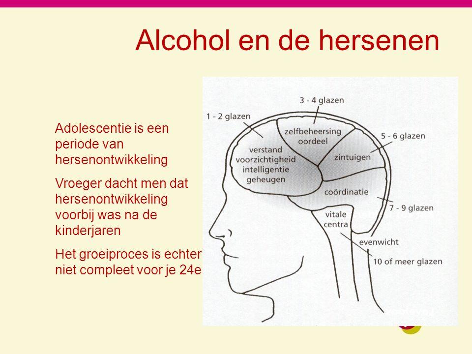 Alcohol en de hersenen Adolescentie is een periode van hersenontwikkeling Vroeger dacht men dat hersenontwikkeling voorbij was na de kinderjaren Het groeiproces is echter niet compleet voor je 24e