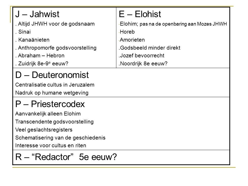 J – Jahwist. Altijd JHWH voor de godsnaam. Sinai. Kanaänieten. Anthropomorfe godsvoorstelling. Abraham – Hebron. Zuidrijk 8e-9 e eeuw? E – Elohist - E
