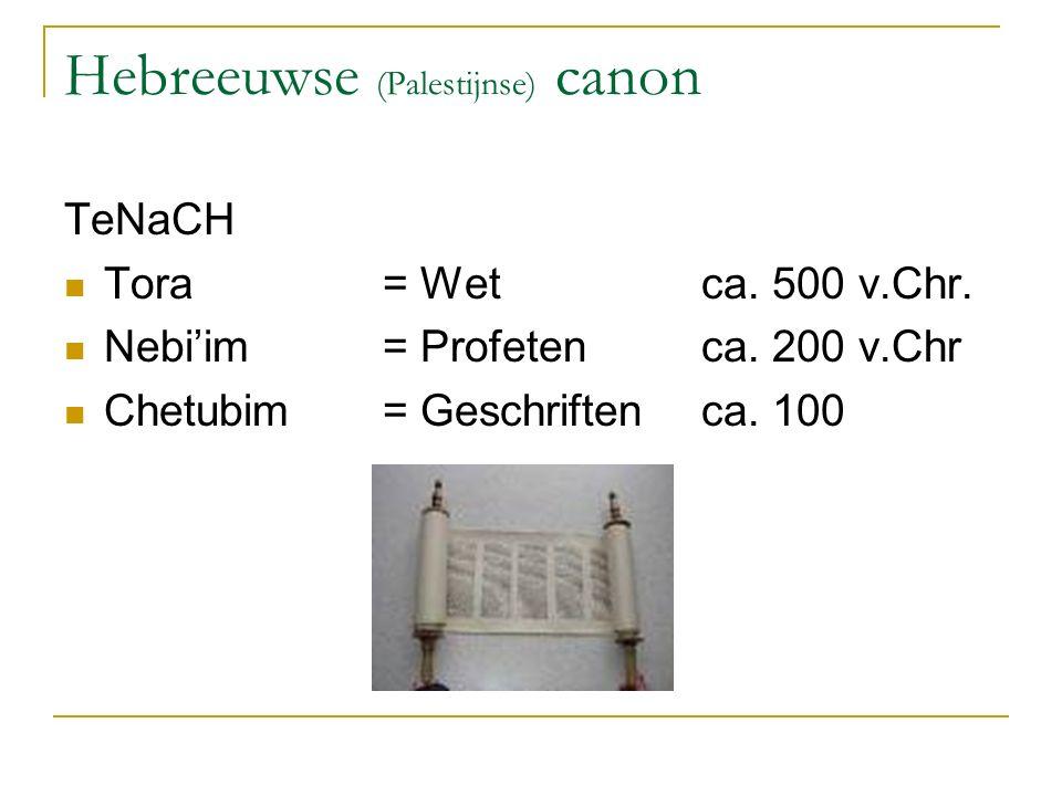 Hebreeuwse (Palestijnse) canon TeNaCH Tora = Wetca. 500 v.Chr. Nebi'im = Profetenca. 200 v.Chr Chetubim = Geschriftenca. 100