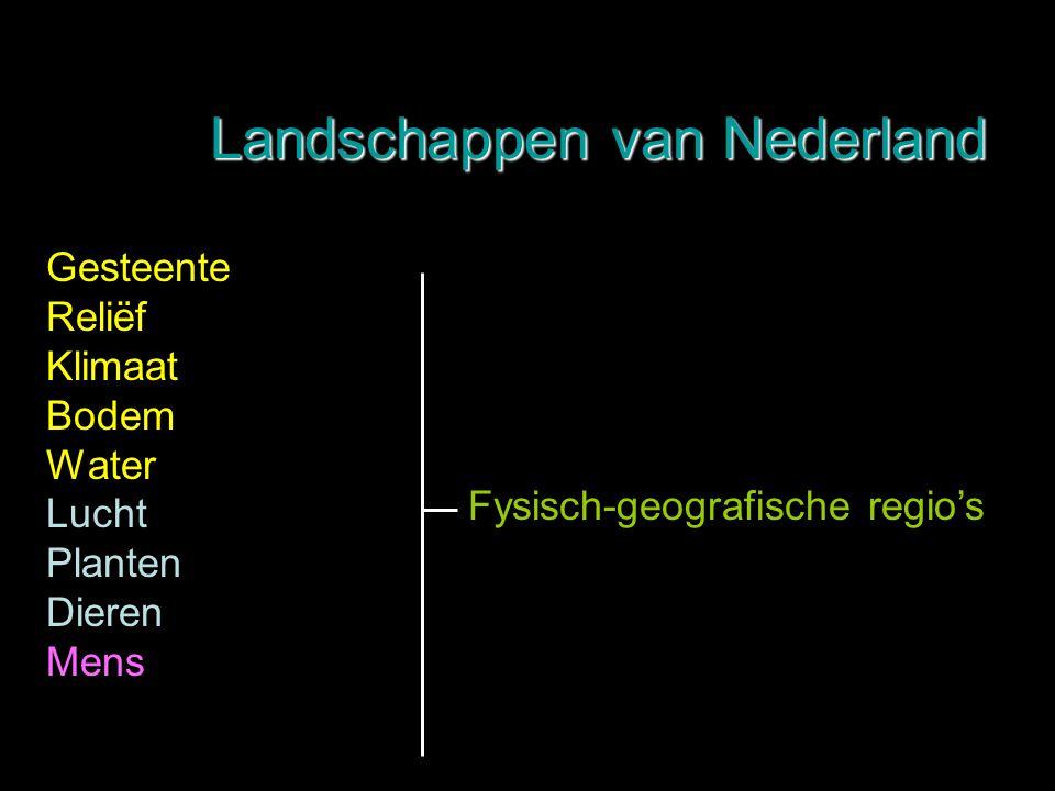 Gesteente Reliëf Klimaat Bodem Water Lucht Planten Dieren Mens Fysisch-geografische regio's Landschappen van Nederland