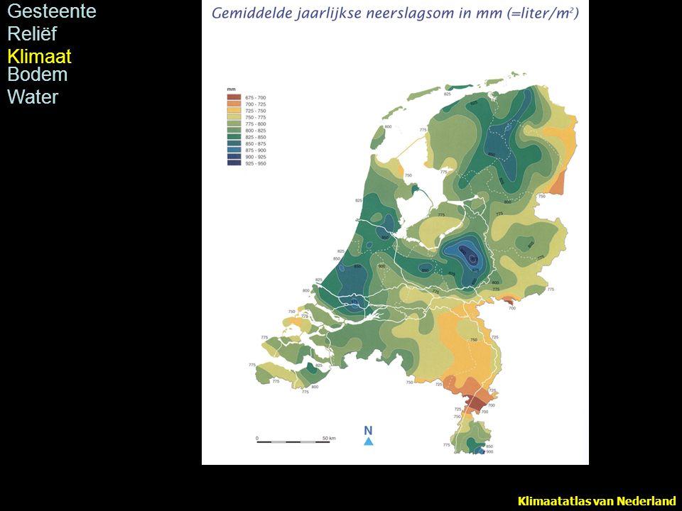 Klimaatatlas van Nederland Neerslag (in mm) in Nederland, periode 1971-2000 Gesteente Reliëf Klimaat Bodem Water