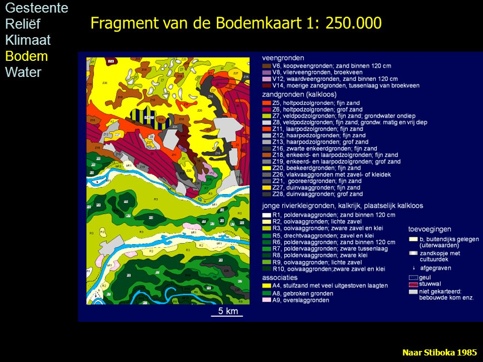 Fragment van de Bodemkaart 1: 250.000 Naar Stiboka 1985 Gesteente Reliëf Klimaat Bodem Water