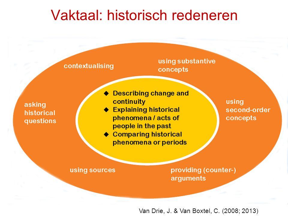 Vaktaal: historisch redeneren Van Drie, J. & Van Boxtel, C. (2008; 2013)