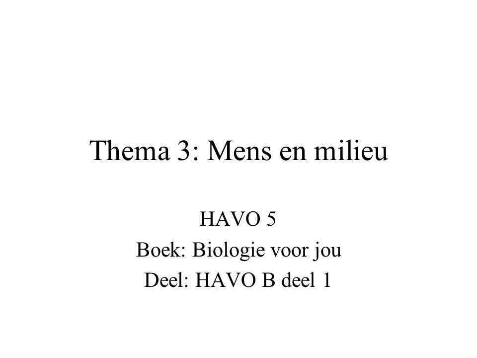Thema 3: Mens en milieu HAVO 5 Boek: Biologie voor jou Deel: HAVO B deel 1