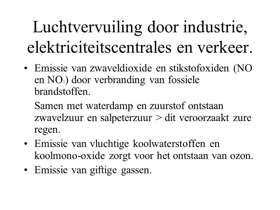Luchtvervuiling door industrie, elektriciteitscentrales en verkeer. Emissie van zwaveldioxide en stikstofoxiden (NO en NO 2 ) door verbranding van fos