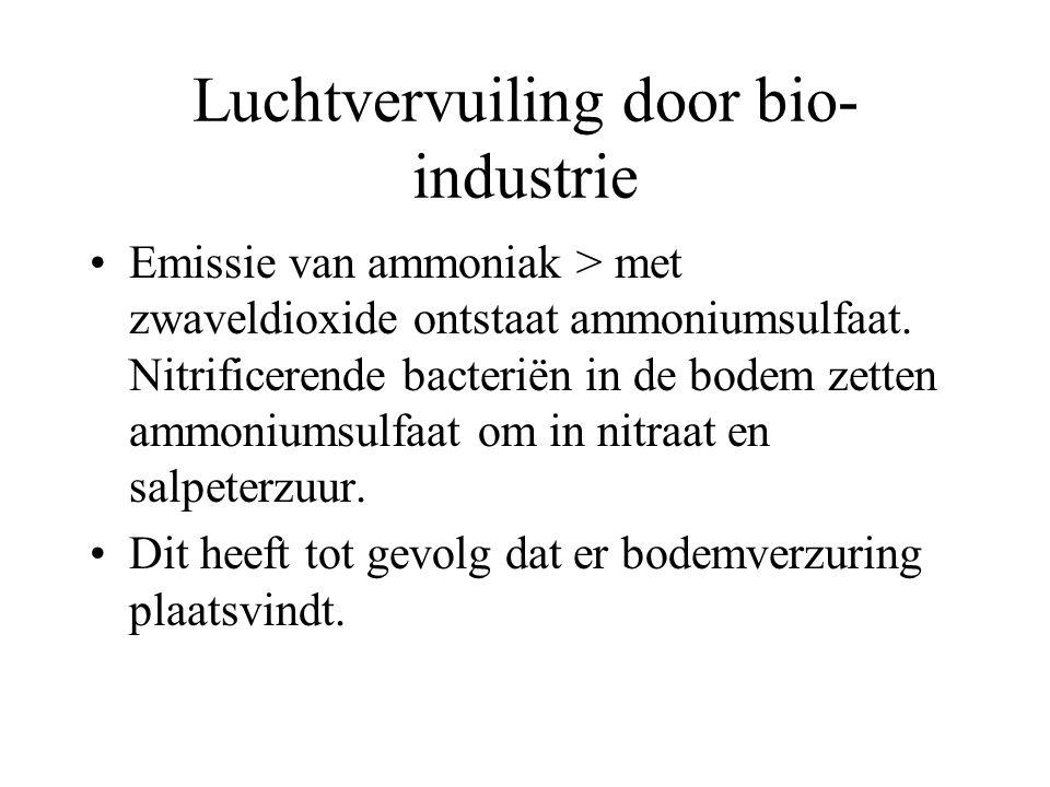 Luchtvervuiling door bio- industrie Emissie van ammoniak > met zwaveldioxide ontstaat ammoniumsulfaat. Nitrificerende bacteriën in de bodem zetten amm
