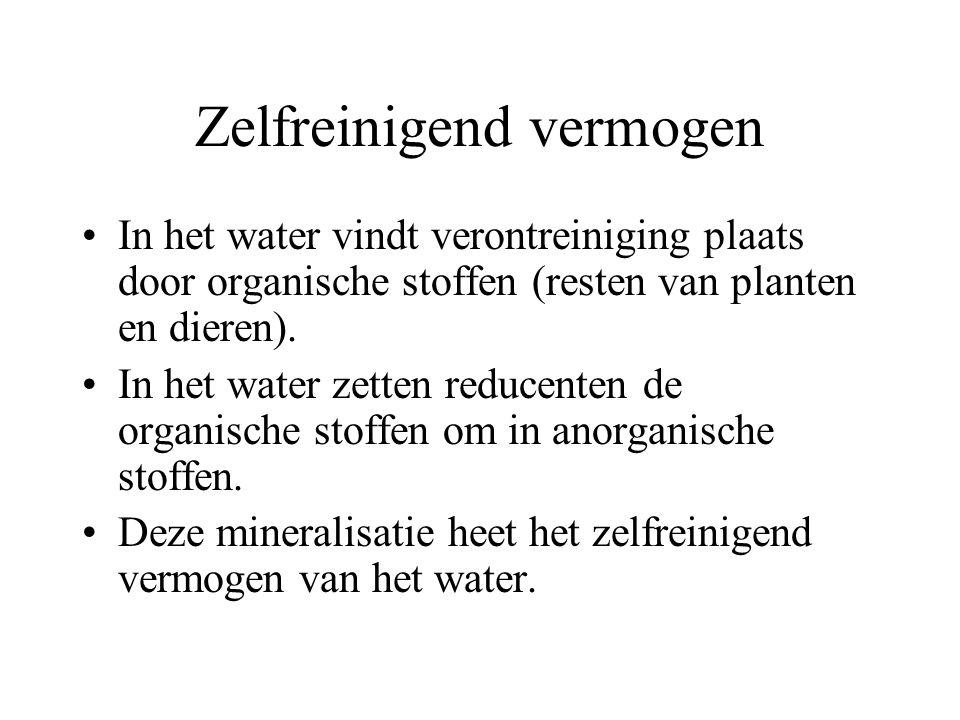 Zelfreinigend vermogen In het water vindt verontreiniging plaats door organische stoffen (resten van planten en dieren). In het water zetten reducente