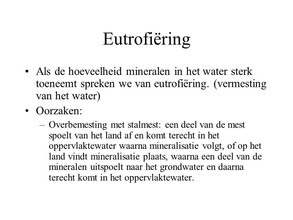 Eutrofiëring Als de hoeveelheid mineralen in het water sterk toeneemt spreken we van eutrofiëring. (vermesting van het water) Oorzaken: –Overbemesting