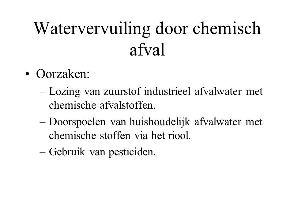 Watervervuiling door chemisch afval Oorzaken: –Lozing van zuurstof industrieel afvalwater met chemische afvalstoffen. –Doorspoelen van huishoudelijk a
